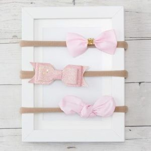 Other - NWT! Super Soft Pink Bow Headband Trio Set